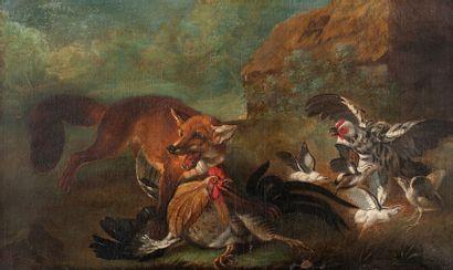 ECOLE FRANCAISE FIN XVIIIème DEBUT XIXème SIECLE Scène de chasse Huile sur toile...