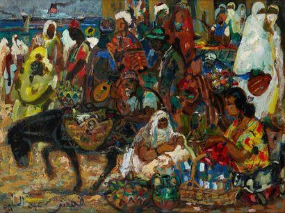 Abdel-Halim HEMCHE (1908-1979) Reflets d'Alger, Marché Huile sur panneau, signée...