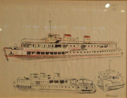 Albert BRENET (1903-2005) Etude de bâteaux, crayon de papier et rehaut de rouge,...