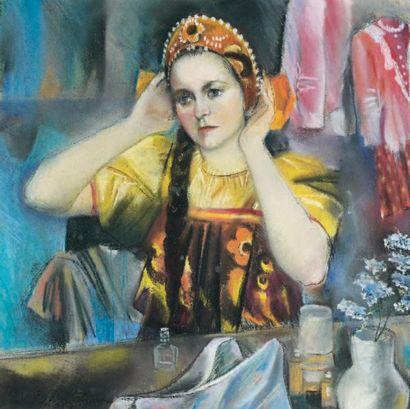Zinada SEREBRIAKOVA (1884-1967) Jeune actrice russe Pastel, signé en bas à gauche...
