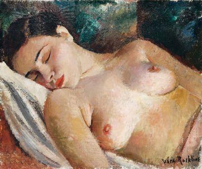 Vera ROCKLINE (1896-1934) Modèle assoupi Huile sur toile, signée en bas à droite...