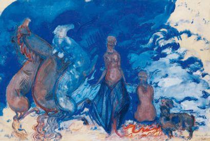 Boris ANISFELD (1879-1973) La mer, 1931 Tempera sur papier, signée et datée en bas...