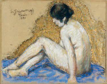 Samuel GRANOWSKY (1889-1942) Nu doré Technique mixte, signée, située Paris et datée...