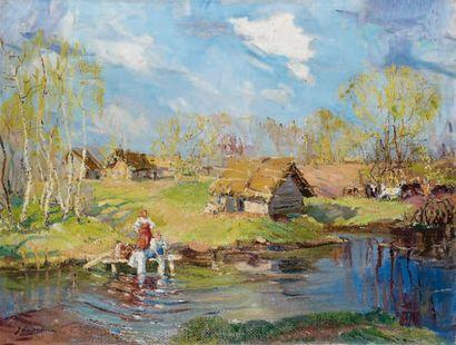 Georges LAPCHINE (1885-1951) Première verdure, Russie Huile sur toile, signée en...