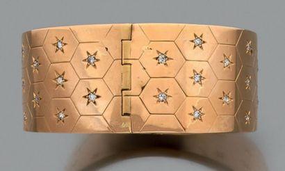 Bracelet manchette rigide en or jaune 18k...