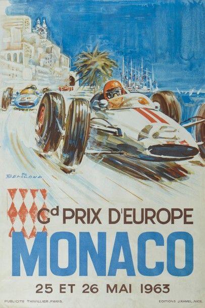 Grand Prix de Monaco 1963 Affiche originale...