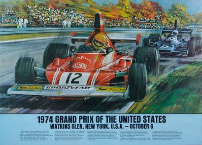 Grand Prix des Etats-Unis 1974 Affiche originale...