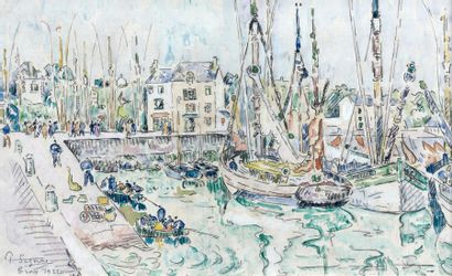 Paul SIGNAC (1863-1935) Le port de Groix, 1922 Aquarelle et crayon sur papier, signée,...