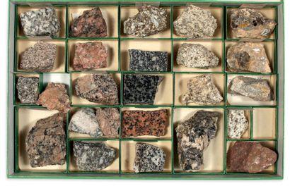 Collection de trois coffrets de minéraux et roches volcaniques