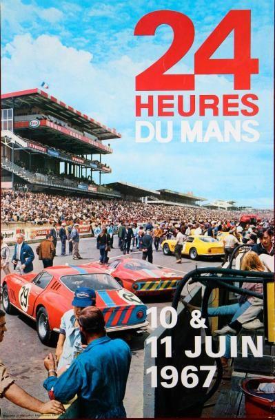 24 Heures du Mans 1967 Affiche Imp. Oberthur...