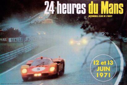 24 Heures du Mans 1971 Affiche Imp. Draeger Paris D'après une photo Delourmel, Le...