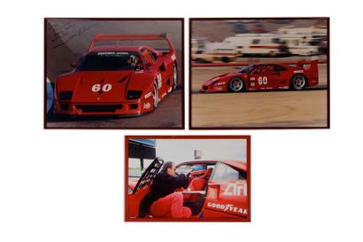 FERRARI Lot de 3 photos encadrées de la Ferrari F40 LM en course: -Deux de la voiture...