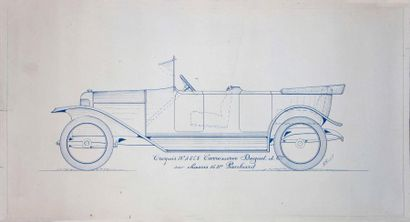 Carrosserie DRIGUET & CIE Lot de 4 plans, comprenant un plan de carrosserie sur papier...