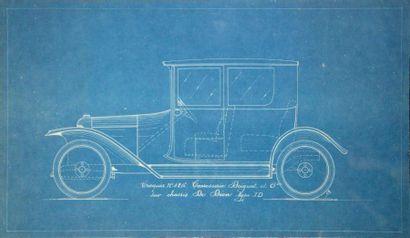 Carrosserie DRIGUET & CIE Lot de 3 plans, comprenant un plan de carrosserie sur papier...