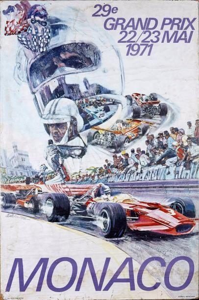 Grand Prix de Monaco 1971 Affiche. Imp J. Ramel à Nice Maquette S. Carpenter Collée...