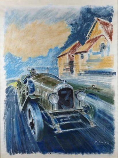 PAUL BOUVOT (1922-2000) Bentley Le Mans Technique mixte Signé et daté 1959 en bas...