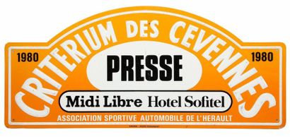 Plaque Rallye Critérium des Cévennes 1980...