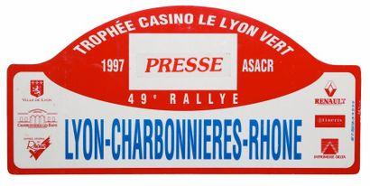 Plaque Rallye Lyon-Charbonnières 1997 - ...