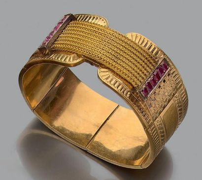 Bracelet manchette en or jaune 18k (750) et argent ( Fin XIXème siècle. Diam.: 5.8...