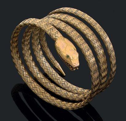 """Bracelet """"serpent"""" en or jaune tressé 18k (750) formant quatre anneaux. Epoque Napoéon..."""