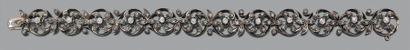 Bracelet articulé en or gris 18k (750) et argent ( Epoque XIXème Long.: 17.5 cm...
