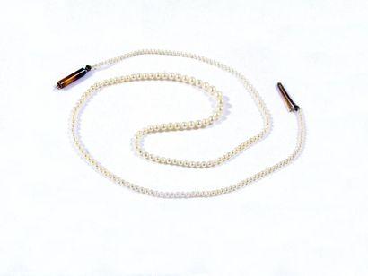 Collier composé d'une chute de perles supposées fines non testées. Diam.:1,2 à 4...