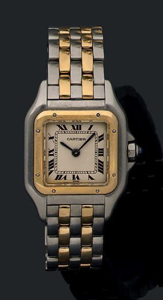 """CARTIER """"Panthère"""" Montre en acier et or, modèle deux rangs d'or sur le bracelet...."""