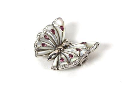 Clip papillon en or gris 18K incrusté de...