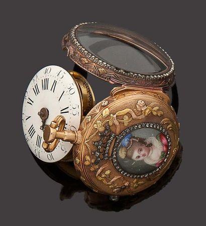 Montre à coq vers 1780 Boîtier en or de deux...
