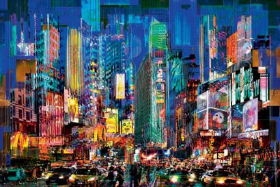 YVES BADY (XX-XXI) Time square between sunset and dawnt, 2016 Subligraphie rehaussée...