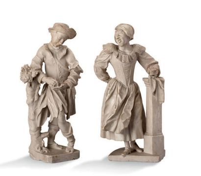 PAIRE DE SCULPTURES en marbre blanc dans l'esprit de Jacques Callot Allemagne, XVIIe...