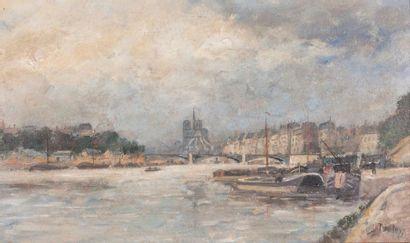 L. DUPUY, pseudonyme d'Eugène GALIEN-LALOUE (1854-1941) Vue de Notre Dame Huile sur...