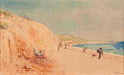 Gustave Adolphe MOSSA (1883-1971) Bord de mer Deux aquarelles, signées en bas à droite...