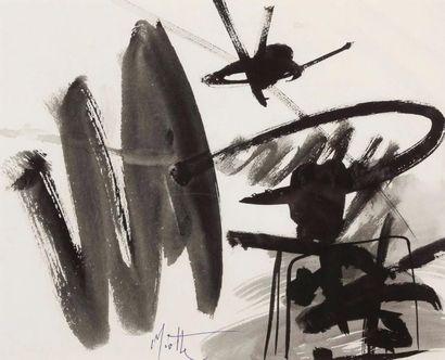 Jean MIOTTE (1926-2016) Composition Encre sur papier, signée en bas au milieu 23...