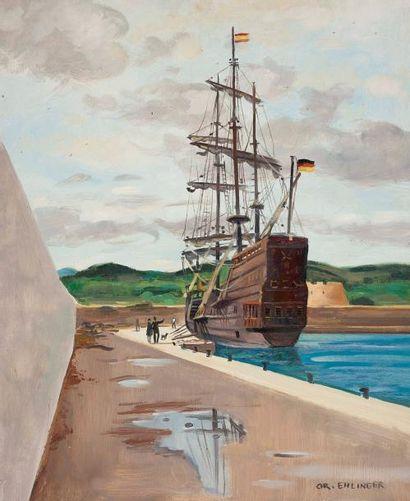 Christian EHLINGER (né en 1931) Le galion, l'Every Huile sur toile, signée en bas...