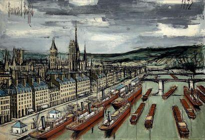 Bernard BUFFET (1928-1999) Bateaux au mouillage , 1973 Huile sur toile, signée en...