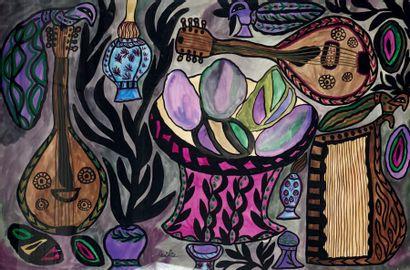 MAHIEDDINE BAYA (1931-1998) Nature morte à la lampe à pétrole, 1966 Gouache et aquarelle...