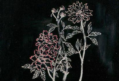 SANYU 常玉 (1901-1966) Pot de fleurs ou Pivoines , circa 1930《花盆与牡丹》约1930 Huile sur...