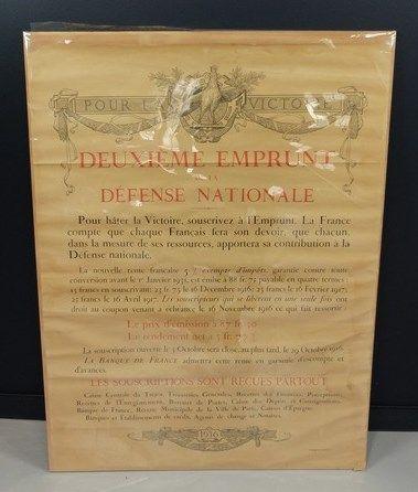 Lot de 2 affiches: A. BESNARD 1917 «3ème emprunt de la défense nationale» (accidents);...
