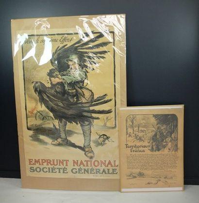 Lot de 2 affiches: Falter: «emprunt national société générale»; «territoriaux...
