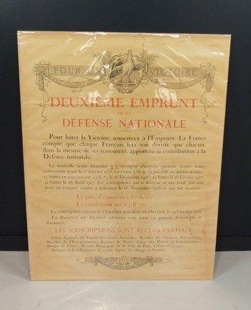 Lot de 2 affiches: Aguste Leroux «3ème emprunt de la défense nationale»; «2ème...