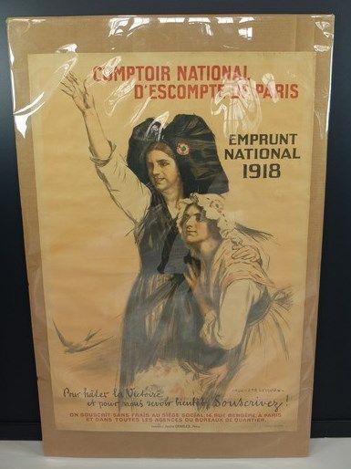 Lot de 2 affiches: Auguste Leroux «Comptoir national d'escompte de Paris emprunt...