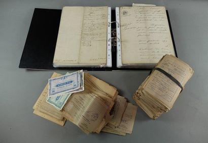 Lot de papiers: ravitaillement général; contrôle; carte lettre; billets; manuels;...