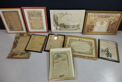 Lot de brevets, diplômesdont «Citation...
