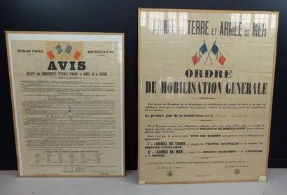 Lot de 2 affiches: Ordre de mobilisation générale, datée du dimanche 2 août 1914,...