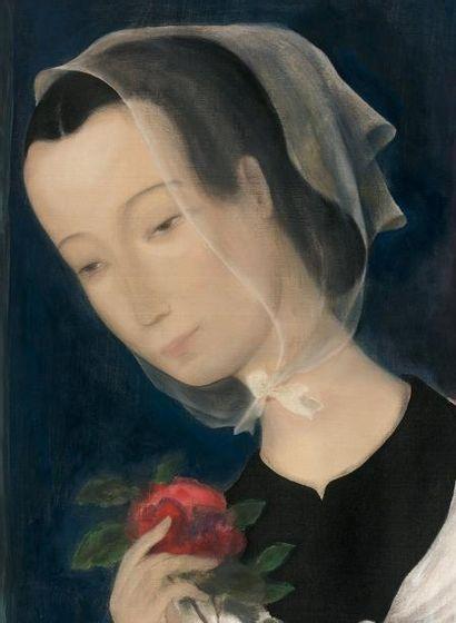 Le Pho (1907-2001) Jeune fille à la rose, circa 1941 Encre et couleurs sur soie,...