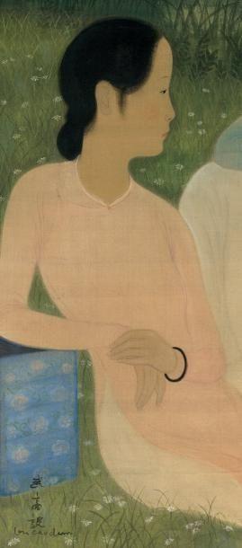 VU CAO DAM (1908-2000) Conversation Encre et couleur sur soie, signée en bas à gauche...