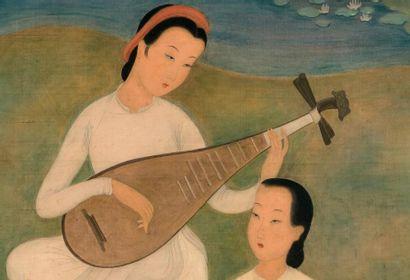 MAI trung THU (1906-1980) Instant musical, 1946 Encre et couleurs sur soie, signée...