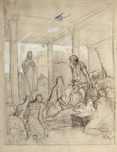 École FRANÇAISE du XXe siècle La Nativité Paire de dessins, crayon noir, plume et...