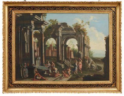 ATTRIBUÉ À ALBERTO CARLIERI (1672 - APRÈS 1720) Personnages dans des ruines près...
